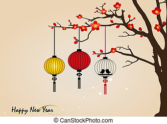 Big traditional chinese lanterns will bring good luck and peace to prayer during Chinese New Year. Vector Illustration.