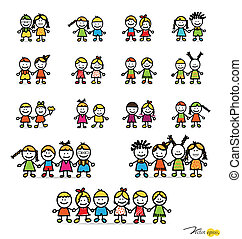 Set of cute happy cartoon kids. Vector illustration.