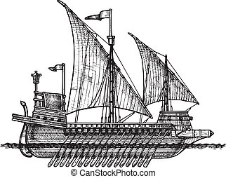 Galley - Vector drawing of Galley stylized as engraving.