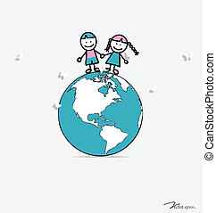 Cute children on globe. Vector illustration.
