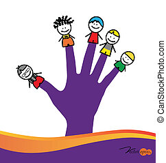 Cute happy cartoon kids on fingers Vector illustration
