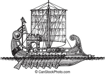 Bireme - vector illustration of a antique ship stylized as...