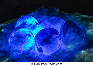 Ice Castles icicles and ice formations - Glowing ice orbs...