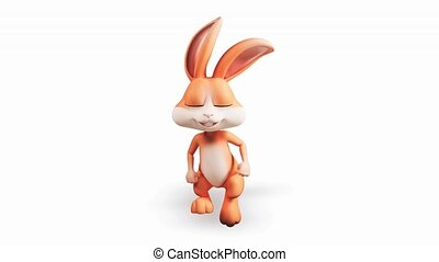 Easter bunny with running - Happy Easter bunny running so...
