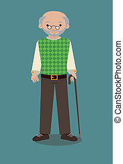 grandfather over blue  background vector illustration