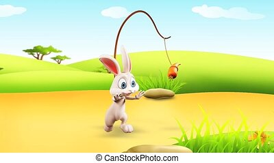 Bunny with running - White bunny is running towards a carrot