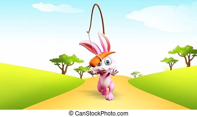 Bunny with running - Pink bunny is running towards a carrot