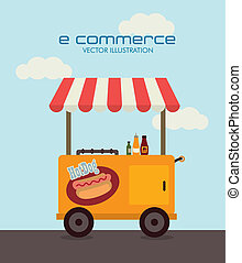 ecommerce design over sky   background. vector illustration