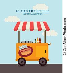 ecommerce design over sky   background. vector illustration