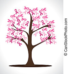 breast cancer over  gray background vector illustration