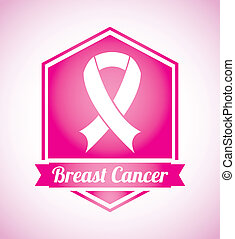 breast cancer over pink background vector illustration
