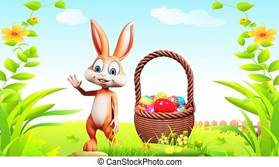 Bunny with eggs basket - Brown bunny is saying hi with eggs...