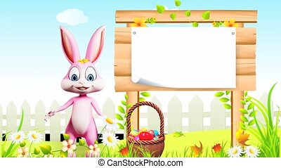 Bunny with sign - Pink bunny is saying hi with sign and eggs...