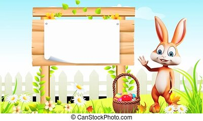 Bunny with sign - Brown bunny is saying hi with sign and...