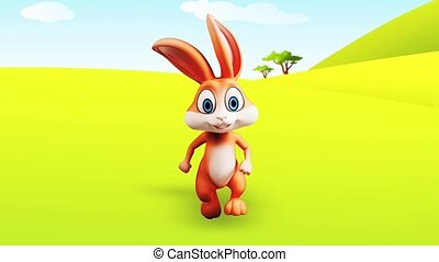 Happy bunny is running - Brown bunny is running