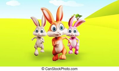 Happy bunny is running - Brown, white and pink bunny is...