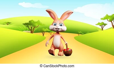 Easter bunny is walking - Brown bunny is walking with eggs...