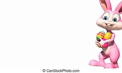 Easter bunny is walking - Pink bunny is walking with...