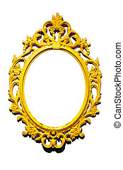 Isolated golden Victorian classical mirror frame