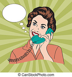 Popart comic retro woman talking by phone, vector...