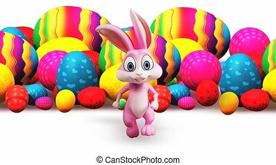 Easter bunny with colorful egg - Pink bunny is running with...