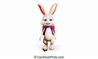 Bunny is walking with school bag - White bunny is walking...