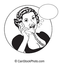 Popart comic retro woman talking by phone