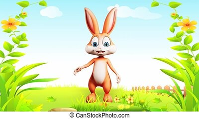 Happy bunny - Brown bunny is saying hi