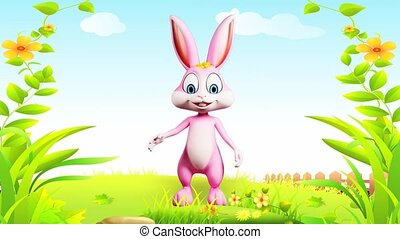 Happy bunny - Pink bunny is saying hi