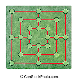 Isolated empty game board - Empty game board on a white...