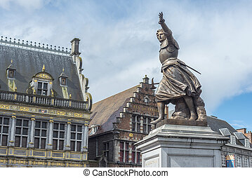 Marie-Christine de Lalaing in Tournai, Belgium - Monument on...