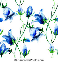 Seamless wallpaper with Bell flowers, watercolor...