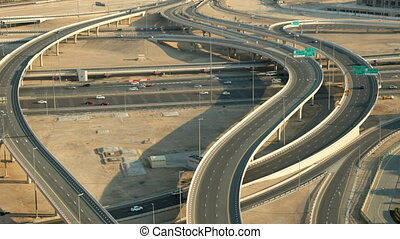 Highway intersection in Dubai, United Arab Emirates 1080p...