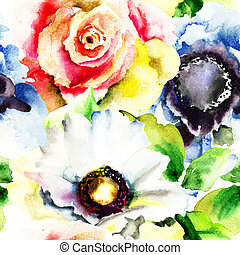 Seamless wallpapers with flowers, watercolor illustration
