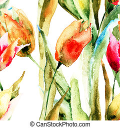 Seamless wallpapers with Tulips flowers, watercolor...