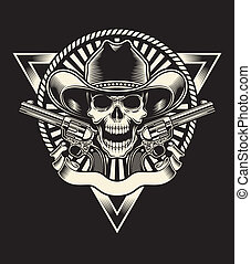 Sheriff Skull With Revolver - fully editable vector...