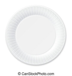 Disposable Paper Plate Isolated on White - Disposable Paper...