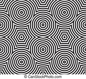 Black and White Psychedelic Circular Textile Pattern. -...