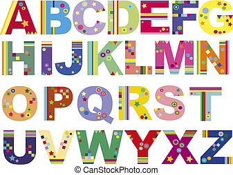 alphabet - illustration of funny colored alphabet