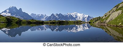 Mont Blanc reflected in Cheserys Lake, Mont Blanc Massif,...