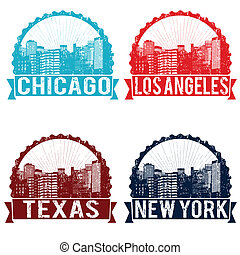 Chicago, Los Angeles, Texas and New York stamps - Set of...