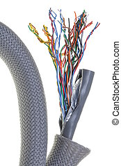 Telecommunication network cable isolated on white background...