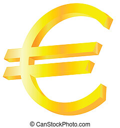 Golden Euro sign. Vector illustration.