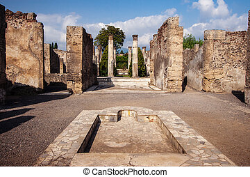 Courtyard of a ruined villa at the ancient Roman city of Pompeii