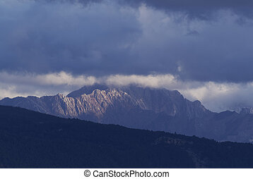 apuan alps view from la spezia in italy