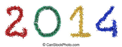 Year 2014 made from tinsel Isolated on a white background