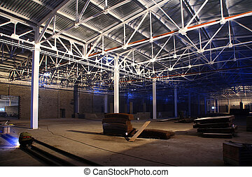 hangar with roof - big new hangar with white metal roof
