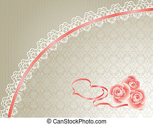 Lace Background with Heart and Roses