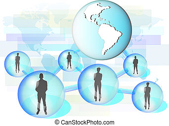 Illustration of business people connected in network with...