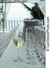 Wine glass setting for wedding party in vintage style